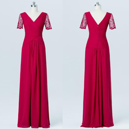 Long Red Bridesmaid Dresses Plus Size Australia - Red Long Bridesmaid Dresses Chiffon Lace Floor Length Short Sleeves V-Neck Plus Size Prom Dresses Formal Gowns