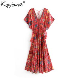 peacock casual dress NZ - Boho Vintage Floral Peacock Print Long Dress Women 2019 New Fashion Bandage V Neck Summer Beach Dresses Casual Vestidos Mujer Y190507