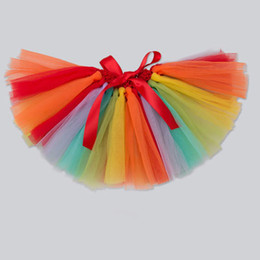 $enCountryForm.capitalKeyWord Australia - Girls strip rainbow TUTU skirt Girls summer beach skirt Kids festival party dance skirt baby girls ballet dance dresses china wholesale