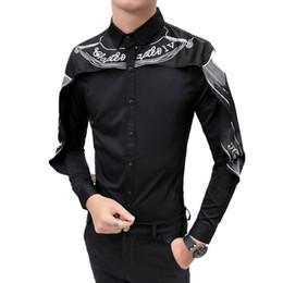 Toptan satış Tasarımcı Gömlek Kore Moda 2018 Uzun Kollu Slim Fit Gotik Gömlek Camisa Erkekler Düğün Patchwork Siyah Beyaz # 565380
