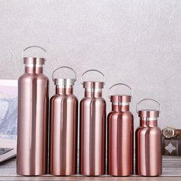 $enCountryForm.capitalKeyWord NZ - Stainless Steel Thermos Bottle Double Wall Vacuum Insulated Water Bottle Flask Rose Gold For Outdoor Sport ZC0744