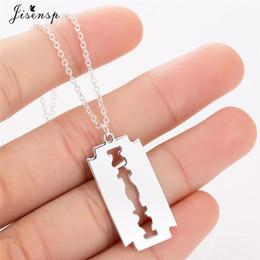 $enCountryForm.capitalKeyWord Australia - Stainless Steel Razor Blades Pendant Necklaces Men Jewelry Steel Shaver Shape Necklaces & Pendants Women Collares