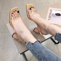 $enCountryForm.capitalKeyWord Australia - Goddess2019 Joker Concise Square Sandals Transparent Bring One Word Button High With Woman Shoes