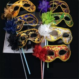 $enCountryForm.capitalKeyWord Australia - Venetian Masquerade Fancy Dress Mask on Stick Mardi Gras Costume Eyemask Printing Halloween Carnival Hand Held Stick Party Masks aa705-712