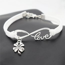 Clover Chain Wholesale Australia - Fashion Handmade Braided White Leather Suede Bracelet & Bangles Infinity Love Four Leaf Clover Boho Jewelry For Women Men Gift Free Shipping