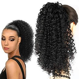 curly ponytails for black women Canada - 100 Human Afro Kinky Curly Ponytail Extensions for Black women Curly Drawstring Puff Fluffy Ponytail Clip in Hairpieces(#1B)