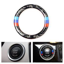 Fiber Engine Australia - Car Carbon Fiber Engine Start Stop Push Button Ignition Key Ring Decor Trim For Bmw 3 Series E90 E92 E93 E89 Z4 2009 2010 2011