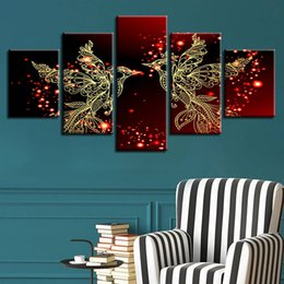 Gold Print Art Australia - Home Decor HD Print Canvas 5 Pieces Red And Gold Love Birds Pictures Bedroom Romantic Wall Art Poster (No Frame)