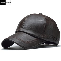 $enCountryForm.capitalKeyWord Australia - [NORTHWOOD] High Quality Leather Cap for Men Solid Winter Pu Leather Baseball Caps Brand Snapback Hat Bone Masculino Fitted hats