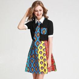 $enCountryForm.capitalKeyWord Australia - Women's Runway Twinsets Turn Down Collar Short Sleeves Printed Shirts with Color Block Skirts Fashion Two Piece Dresses Sets