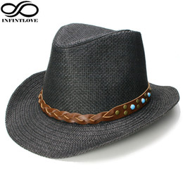 b46de6d7ef5 LUCKYLIANJI Men Women Unisex Vintage Sun Protection Turquoise Band Cowboy  Western Hat Casual Travel Gentle Panama Jazz Cap D19011103