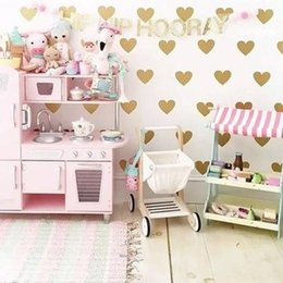 girls nursery decorations UK - Hot sell Heart Wall Sticker For Kids Room Baby 6cm(35dots)Girl Room Decorative Stickers Nursery Bedroom Wall Decal Stickers Home Decoration
