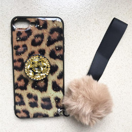 $enCountryForm.capitalKeyWord Australia - Airbag Kickstand Phone Case for iphone 7 8 plus Plush Ball Strap Diamond Airbag Stand Holder Leopard Case Cover for iphone XS Max XR XS X 8
