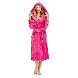 night woman nightgown Women s Winter Hooded Lengthened Plush Shawl Bathrobe  Sleepwear Long Sleeve Coat women s clothing 2019 9fa2f92a9