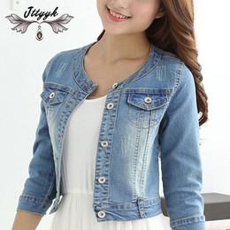 b43e7970324 Autumn Cotton Denim Jacket Women 2018 Slim O neck 7 sleeves Short Jeans  Jacket Vintage Coats Women Large size chaqueta mujer 390