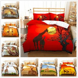 customized bedding sets Australia - 3D Customized Giraffe Duvet Cover Comforter Cover Bedding Set Pillowcase Animal