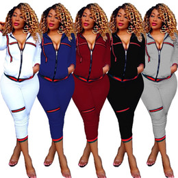 Ladies gym cLothes online shopping - Pure Color Ladies Gym Clothing Outdoor Motion Long Sleeve Letter Print Jackets Skinny Legged Long Pants Set wy I1
