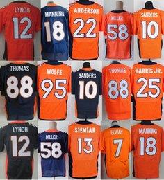 71fcb602f Elite Men Stitched Denver Bronco jerseys  58 Von Miller 18 Peyton Manning  95 Derek Wolfe 10 Emmanuel Sanders 7 elway 88 THOMAS