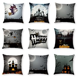 $enCountryForm.capitalKeyWord Australia - New Design Halloween Party Decor Cotton Linen Square Pillow Case Home Sofa Witch Bat Pillowslip Waist Cushion Cover Pillow Cover