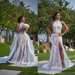 Wholesale sleeveless collared shirt plus size online – 2020 Vintage High Neck Mermaid Split Side Wedding Dresses With Detachable Train Luxury Lace Appliqued Plus Size African Bridal Gown