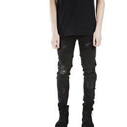 0473fd2513643 Wholesale slp blue black destroyed mens slim denim straight biker skinny  jeans Casual Long men ripped jeans Size 28-38 free shipping