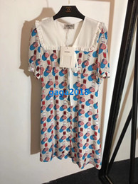 Mujeres niñas 100% camisa de seda vestido telaraña impresión marinero cuello arco manga corta una línea trompeta faldas midi gama alta nueva moda vestidos de lujo