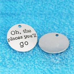 $enCountryForm.capitalKeyWord NZ - 20pcs 25MM Oh the places you will go antique silver metal word charms vintage metal round circle pendants diy alloy jewelry make