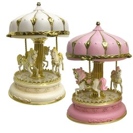 Wholesale Christmas Gifts For Kids Australia - 2 Colors Handmade Music Carrousel Box Merry-Go-Round with Horse's Castle Craft Music Box Christmas Gifts for Kids