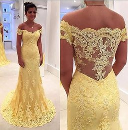 yellow lace dress sleeveless Australia - Yellow Long Lace Mermaid Evening Dresses Sleeveless Off The Shoulder New Prom Dresses Party Gowns Custom Made
