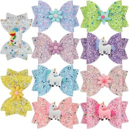 Headbands Bow Australia - Free DHL Shipping About 3.5inch Kids Girls Hair Barrettes Newest Unicorn Mermaid Sequins Bows Hair Clippers Mermaid Clips Hair Accessories