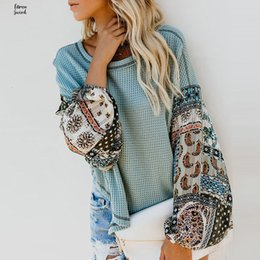 ladies high neck white blouse Australia - Blouse Winter Autumn Women Long Sleeve Bohemian Knit Patchwork Casual O Neck High Tops Low Ladies Loose