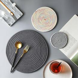 $enCountryForm.capitalKeyWord Australia - Brand New 3pcs Handmade Crocheted Placement Table Mat Cotton Doily Cup Kitchen Round Mat Linen Cotton Table