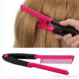 Fashion V Type Hair Straightener Comb DIY Salon Hairdressing Styling Tool Curls Brush Combs Free shipping on Sale