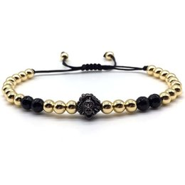 $enCountryForm.capitalKeyWord Australia - New Hip Hop Lion Charm Bracelet Men Fashion Handmade Weave Rope Chain Pave CZ Beaded Bracelet For Men Rock Jewelry Gift
