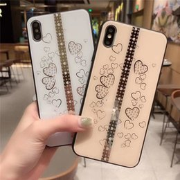 heart shaped glasses plastic Australia - One Piece Luxury phone case For iPhone6S 7 8P X XS XR fashion diamond and heart-shaped with glass Designer phone case back cover