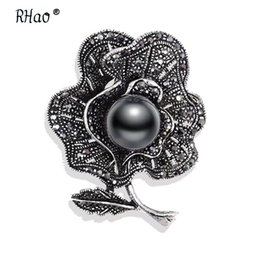Vintage Flower Brooches Australia - Jewelry Vintage Style gun black Imitation Pearl Flower Brooch Elegant Black Rhinestones Brooches and Pins for Women
