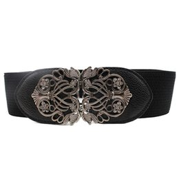 unique clothing designs Australia - Clothes Accessories Leather Flower Women Waist Belt 65cm Wide Elastic Belt For Women Girl Vintage Straps unique design Gift