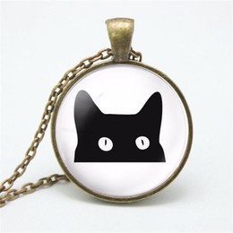 korean accessories glasses 2020 - New Japanese and Korean fashion simple necklace Cat head glass dome pendant necklace Fine clothing accessories wholesale