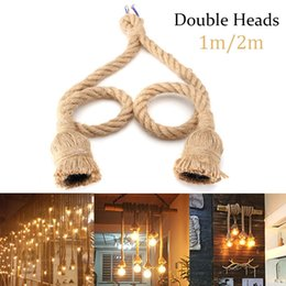 Rope ceiling online shopping - E27 Pendant Lamp Hemp Rope Base Fixture Rope Ceiling Light Base for Retro Vintage Ceiling Light M Double Single Heads