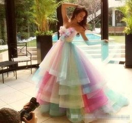 615d29da6fb8a 2019 Charming Colorful Rainbow Prom Dresses A Line Sweetheart Off Shoulder Prom  Gowns Lace Up Back Soft Tulle Bridal Dresses Cheap Evening