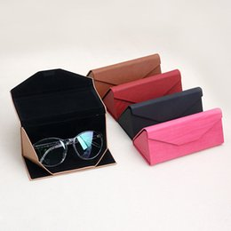 folding sunglasses wholesale Australia - 1 PC Protable Light Triangular Fold Glasses Case Eyeglass Sunglasses Protector Box