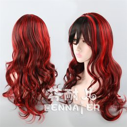 Long Hair Oblique Bangs Australia - Black and red color mixed color 80cm oblique bangs long curly hair female European and American high temperature silk wig F508