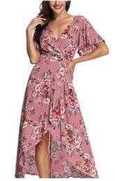 Ankle Length High Neck Wedding Dresses UK - Azalosie Wrap Maxi Dress Short Sleeve V Neck Floral Flowy Front Slit High Low Women Beach Party Wedding Dress
