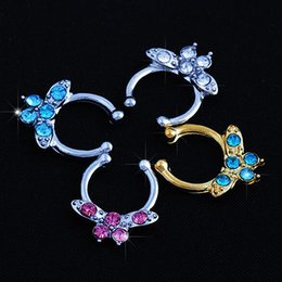 Punk Rings Australia - Bluelans Punk Butterfly Septum Clicker Nose Ring Non Piercing Hanger Clip On Jewelry