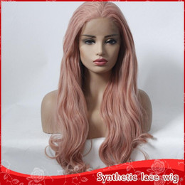 $enCountryForm.capitalKeyWord NZ - 2018 New Sexy Cosplay Pink Long Wavy Lace Front Wigs Free Part Heat Resistant Glueless Synthetic Lace Front Wigs for Women 180% Density