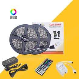 Wholesale 5M M Led Strips DC V Voltage RGB Led Strips Lights SMD Waterproof IR Remote Control Power Supply