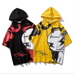 Bat Sleeve T Shirts NZ - Men's five-point sleeves European and American style 2019 bat sleeve shirt Tide brand hip-hop loose cartoon couple hooded T-shirt
