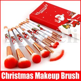 christmas makeup brush gift set UK - Christmas Gift 10pcs set Santa Handle Makeup Brushes Extremely Soft Makeup Brush Set Foundation Powder Brush Kit with Box