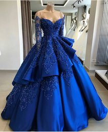 $enCountryForm.capitalKeyWord NZ - Blue Ball Gown Prom Dresses with Long Sleeve 2019 Beaded Lace Layers Skirts Evening Gowns Cocktail Party Ball Quinceanera Dress Formal Gown