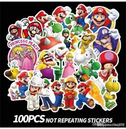 $enCountryForm.capitalKeyWord Australia - 100pcs lot DIY Waterproof Stickers Mario Cartoon Stickers Super Mario series paster collection decals scrapbooking Kids Toy